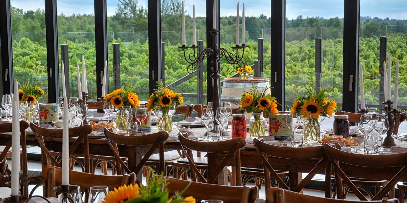 winery dinner with sunflowers on the tables