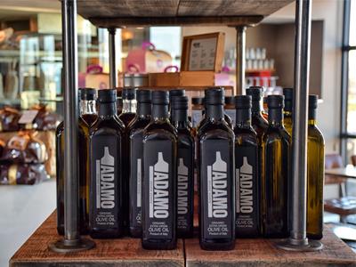 Olive oil bottles on the shelf