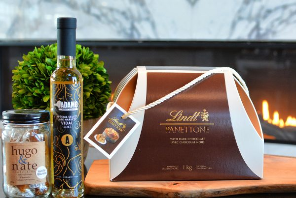 panettone and caramels and dessert wine from Adamo Estate Winery