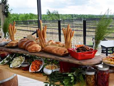 food buffet on the patio