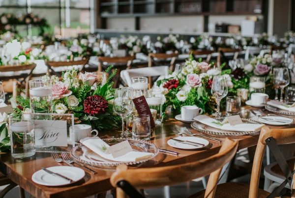 wedding table place setting at Adamo Estate Winery