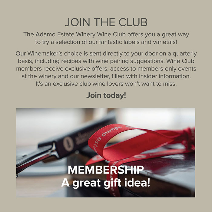 winery membership info and wine opener