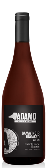 2018 Huebel Unoaked Gamay Noir wine at Adamo Estate Winery