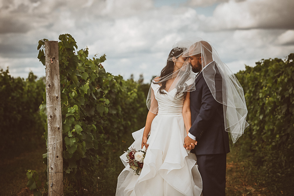 bride and groom among the vines